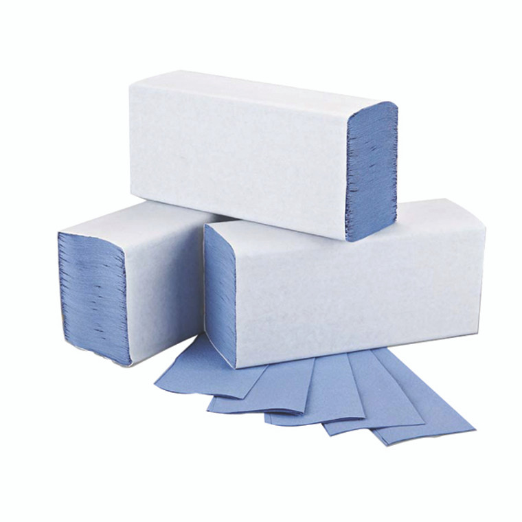 2W71923 2Work 1-Ply M-Fold Hand Towel Blue Pack 3000 2W71923