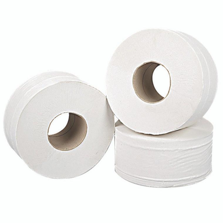2W70323 2Work 2-Ply Mini Jumbo Toilet Roll White Pack 12 J27200VW