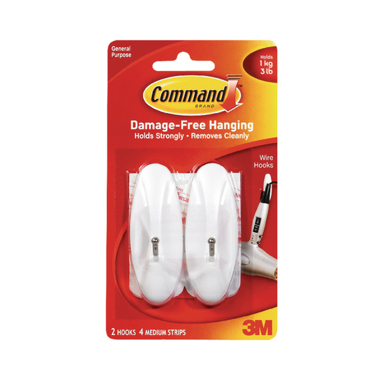 3M92127 3M Command Medium Wire Hooks With Command Strips 17068