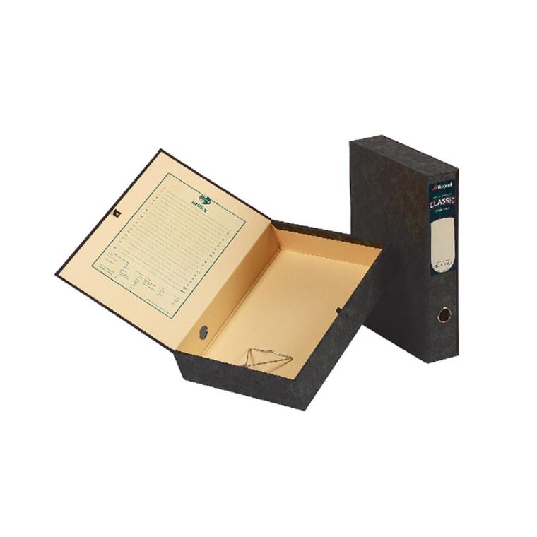 EA30115 Rexel Classic Box File Lockspring Foolscap Black Pack 5 30115EAST