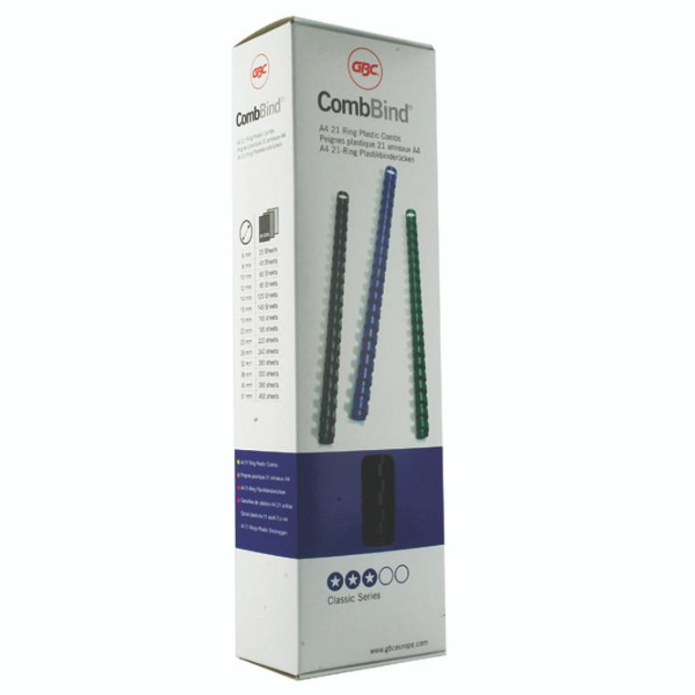 GB21635 GBC CombBind Binding Combs 8mm Black Pack 100 4028174