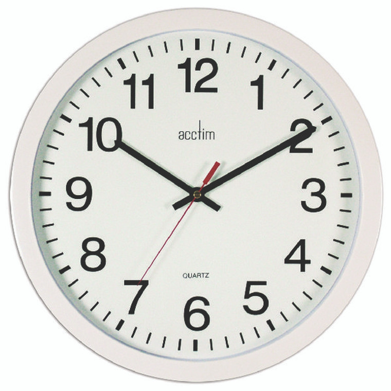 ANG93704 Acctim Controller Silent Sweep Wall Clock 368mm White 93 704