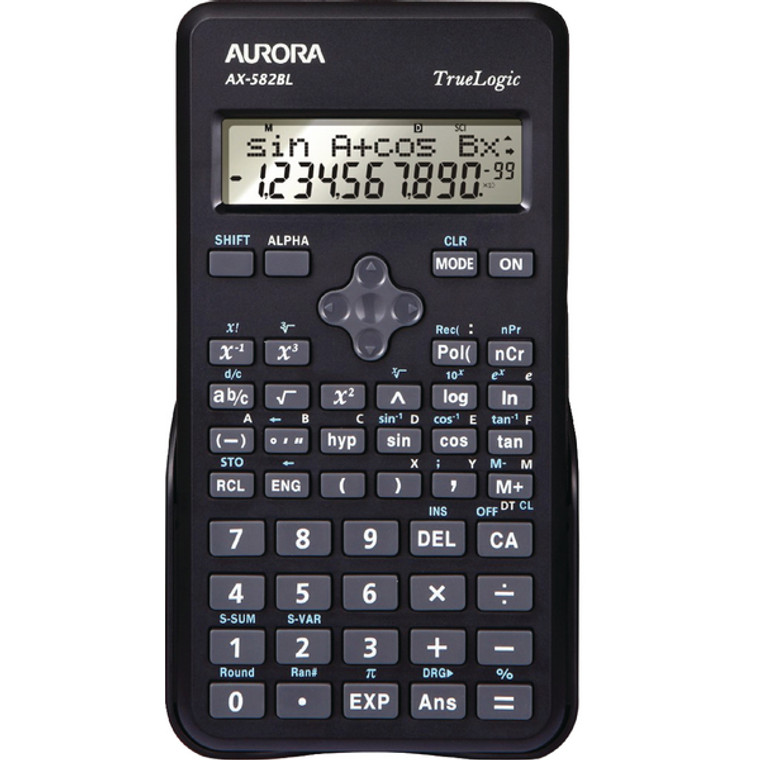 AO41603 Aurora Black 2-Line Scientific Calculator 2 line display shows both sum answer AX582BL