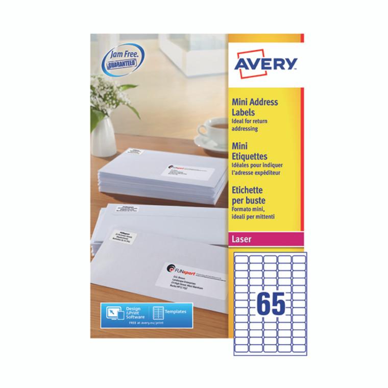 AVL7651H Avery Laser Labels 38 1x21 2 Mini address labels easy use Pack 100 L7651H
