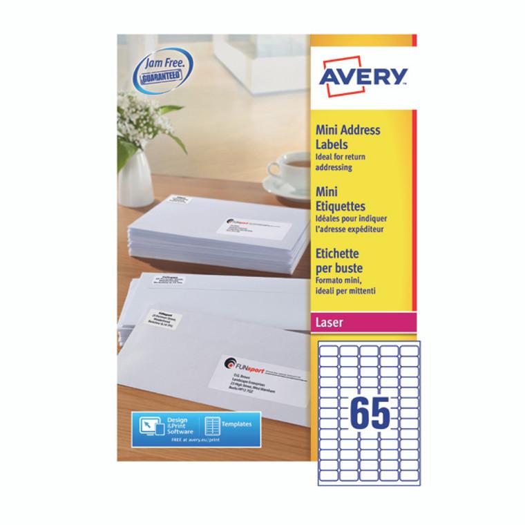 AV98886 Avery Mini Labels 38 x 21mm White Pack 16250 L7651-250