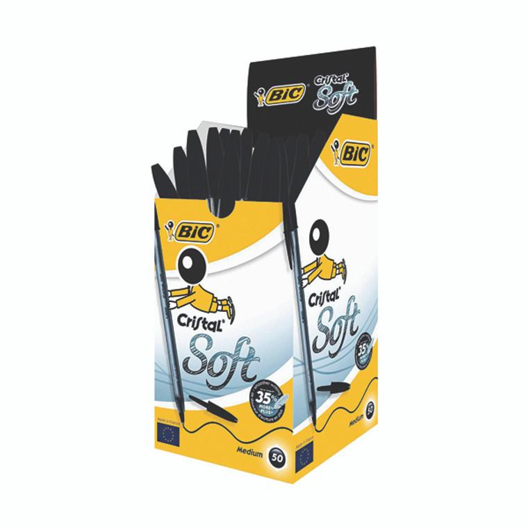 BC34062 Bic Cristal Soft Ballpoint Pen Medium Black Pack 50 918518