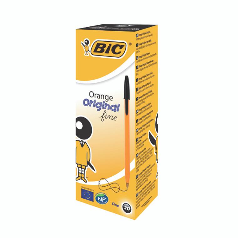 BC10114 Bic Orange Fine Ballpoint Pen Black Pack 20 1199110114