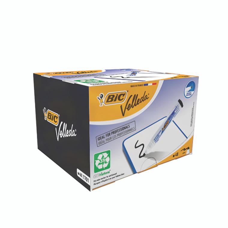 BC38540 Bic Velleda 1701 Drywipe Marker Bullet Tip Black Pack 48 927258