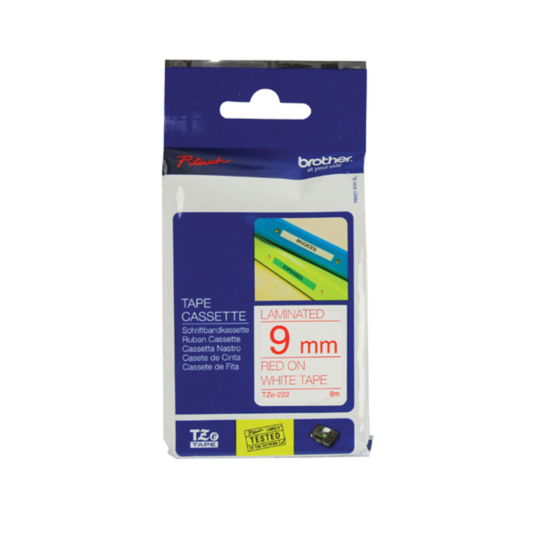 BA8085 Brother P-Touch 9mm Red on White TZE222 Labelling Tape