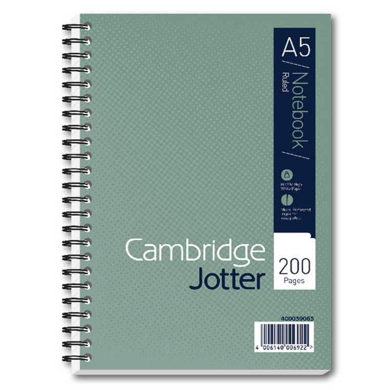 JD00693 Cambridge Ruled Margin Wirebound Jotter Notebook 200 Pages A5 Pack 3 400039063