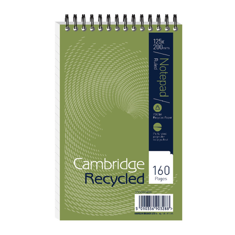 JDF15002 Cambridge Recycled Wirebound Reporter s Notebook 160 Pages 125 x 200mm Pack 10 100080468