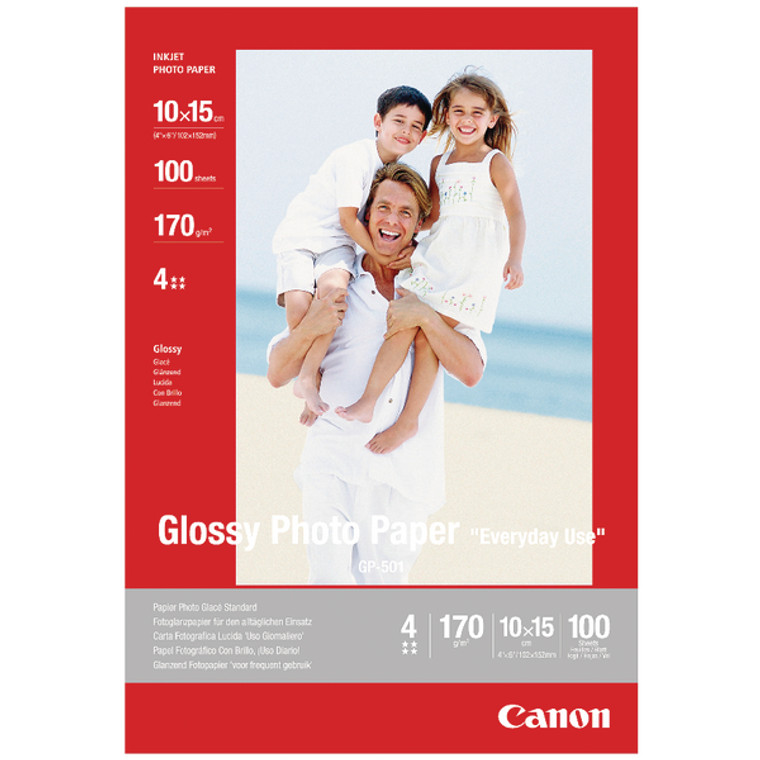 CO29396 Canon Inkjet Photo Paper 10x15cm 170gsm Glossy Pack 100 GP-501 0775B003