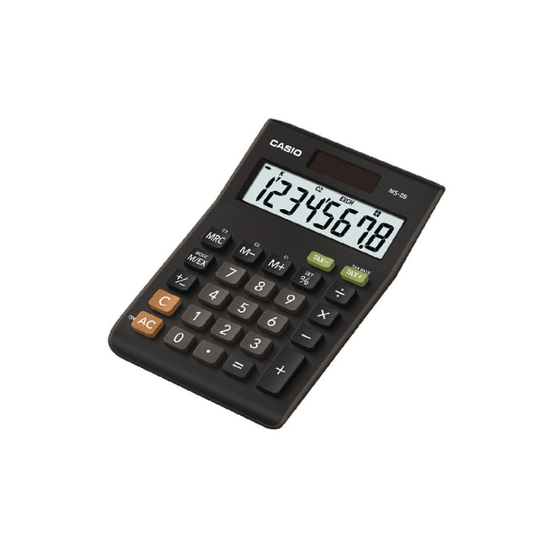 CS09046 Casio 8-Digit Tax Currency Calculator Black MS-8B