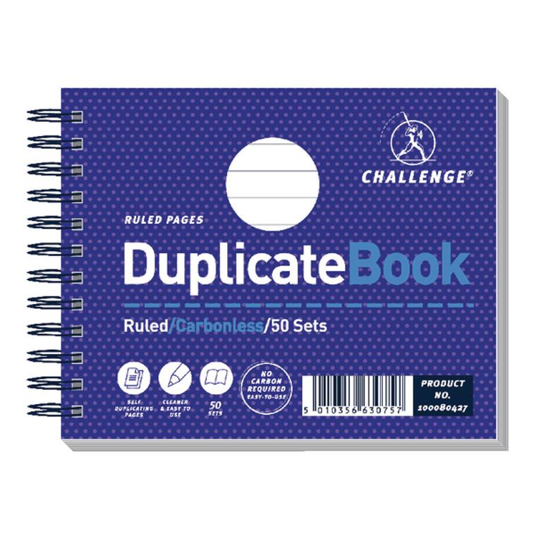 JDC63075 Challenge Wirebound Carbonless Duplicate Book 50 Sets 105x130mm Pack 5 100080427
