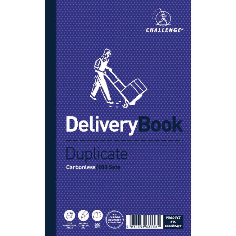 JDF63036 Challenge Carbonless Duplicate Delivery Book 100 Sets 210x130mm Pack 5 100080470