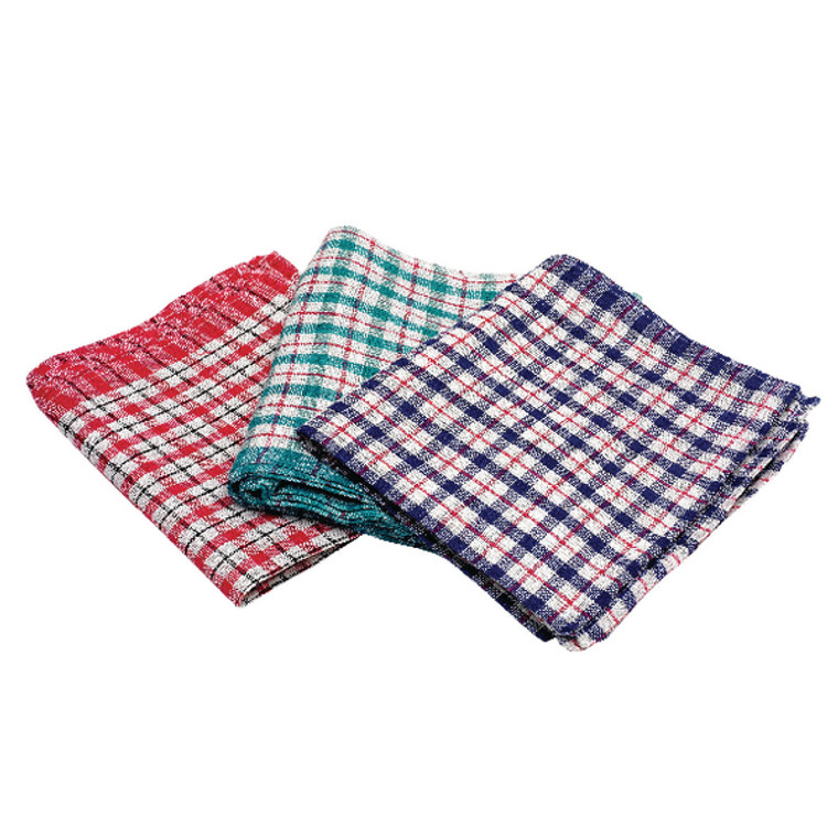 CPD02228 2Work Check Design Tea Towels 430x680mm Pack 10 KRSRY0311