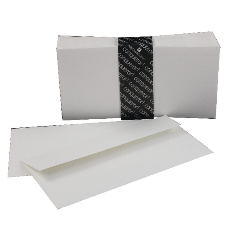 CQR22758 Conqueror Laid DL Wallet Envelope 110x220mm High White Pack 500 CDE1440HW