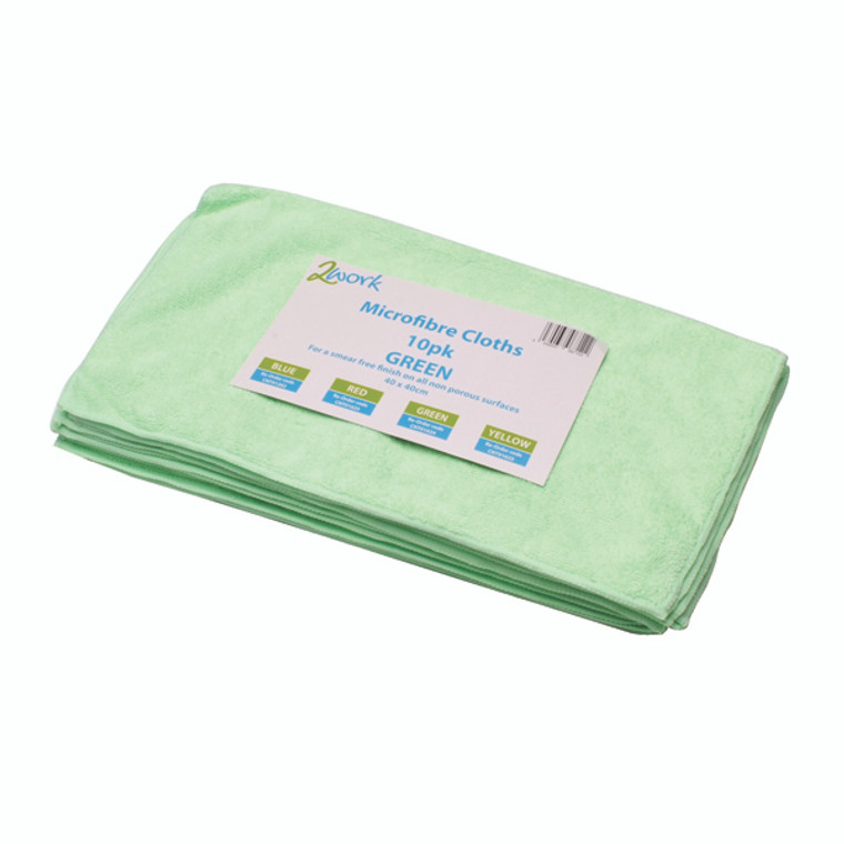 CNT01624 2Work Green 400x400mm Microfibre Cloth Pack 10 101161GN