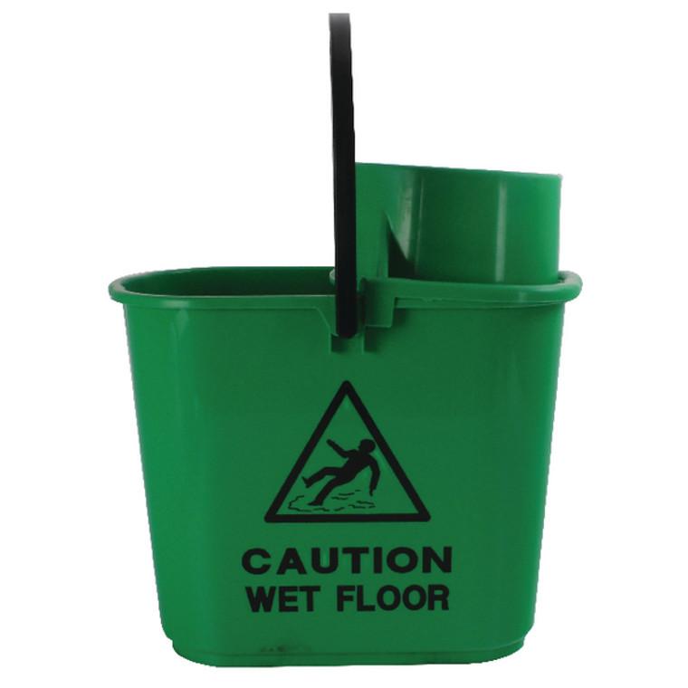 CNT00066 2Work Plastic Mop Bucket with Wringer 15 Litre Green 102946GN