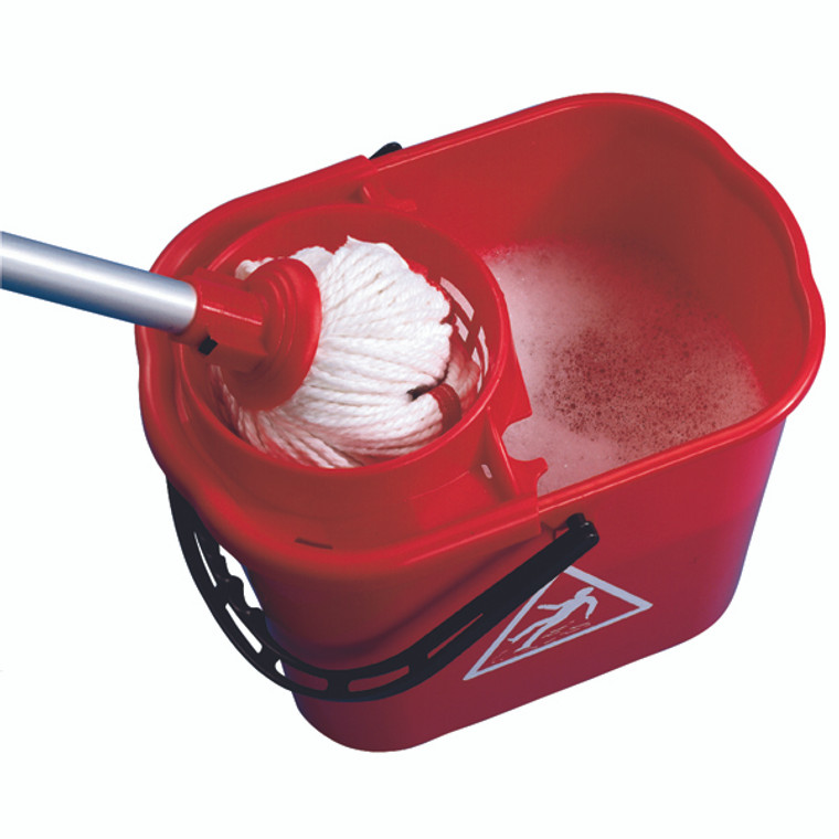 CNT00684 2Work Plastic Mop Bucket with Wringer 15 Litre Red 102946RD
