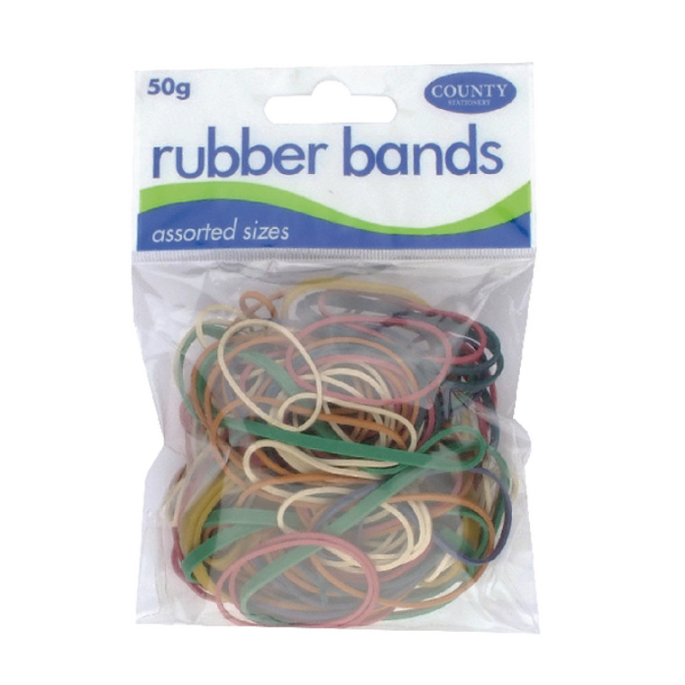 CTY09615 County Rubber Bands Coloured 50gm Pack 12 C225