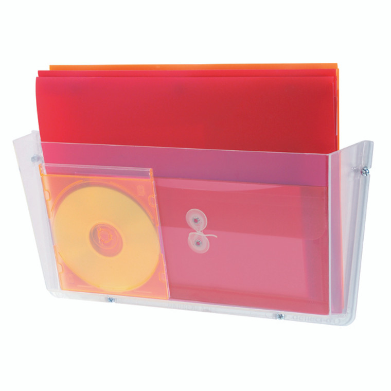 DF63201 Deflecto Non-Breakable Wall File Pocket A4 Unbreakable polycarbonate construction Clear