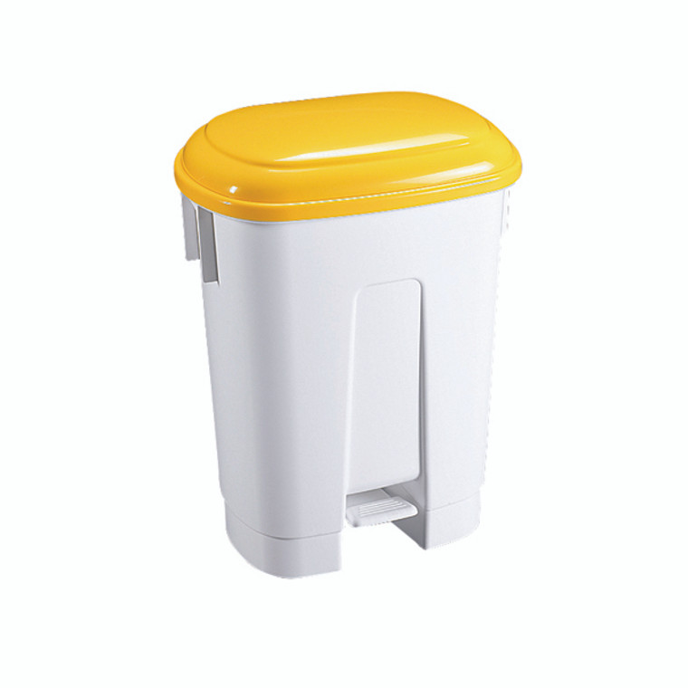 SBY14761 Derby Plastic Pedal Bin 60 Litre White Yellow 348014