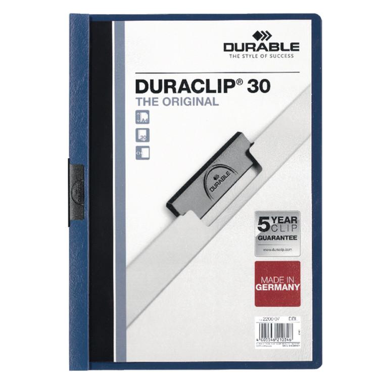 DB220007 Durable 3mm Duraclip File A4 Dark Blue Pack 25 2200 07