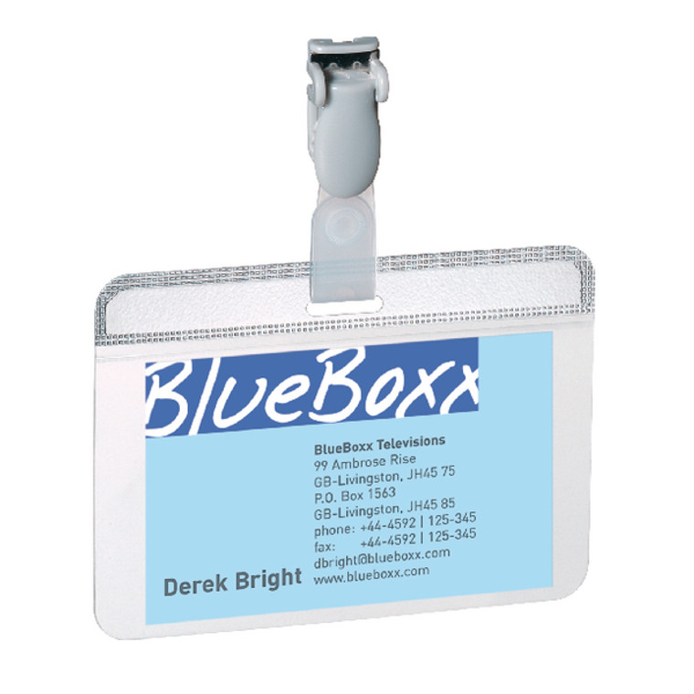 DB814919 Durable Self Laminating Name Badge 54x90mm Clear Pack 25 8149 19