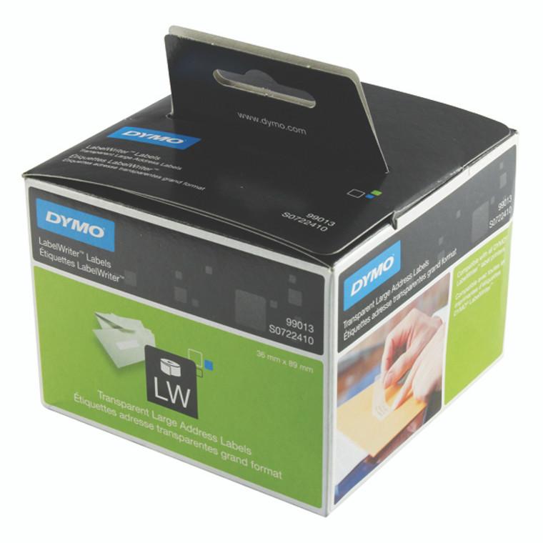 ES99013 Dymo LabelWriter Large Address Labels 89 x 36mm Transparent S0722410