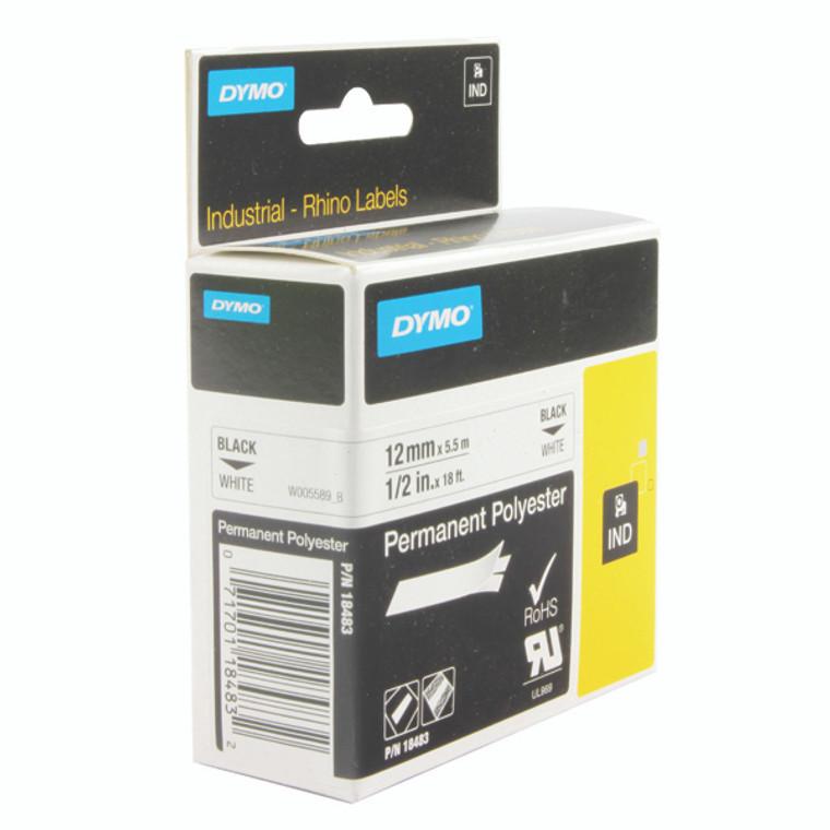 ES18764 Dymo 18483 Rhino Polyester Tape 12mm x 5 5m White S0718210