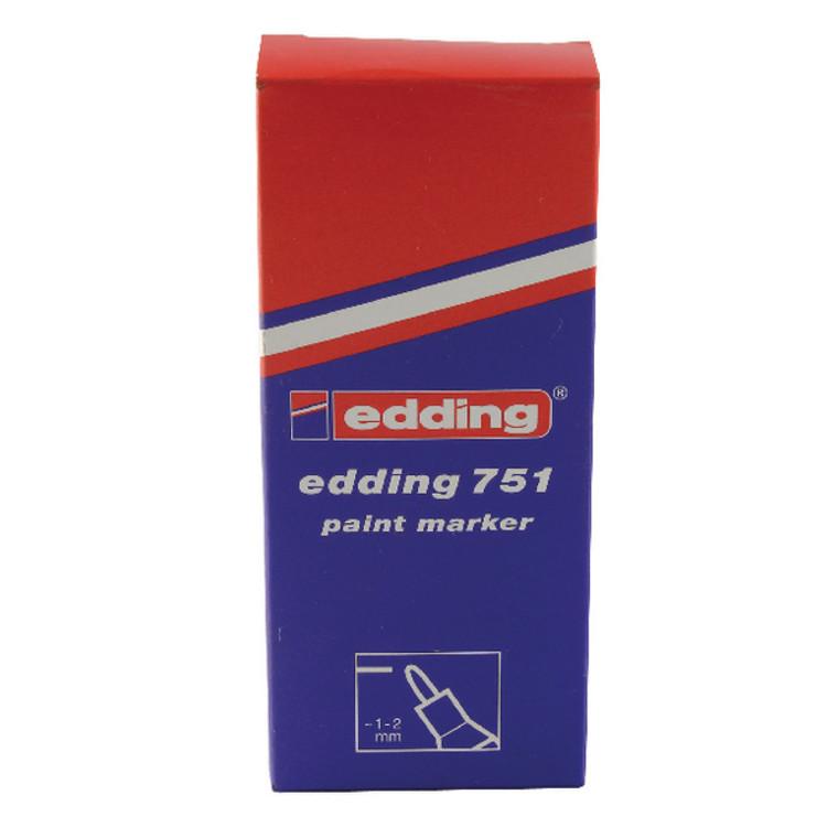 ED49814 Edding 751 Bullet Tip Paint Marker Fine Silver Pack 10 751-054