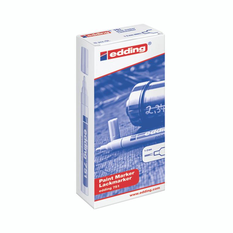 ED751MW Edding 751 Bullet Tip Paint Marker Fine White Pack 10 751-049