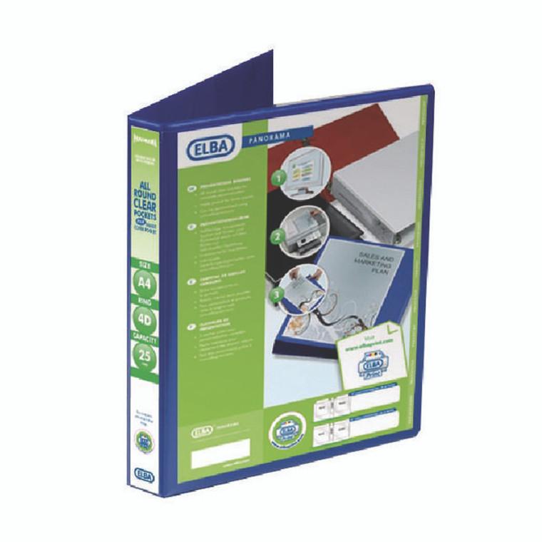 BX06527 Elba Panorama 25mm 4 D-Ring Presentation Binder A4 Blue Pack 6 400008415