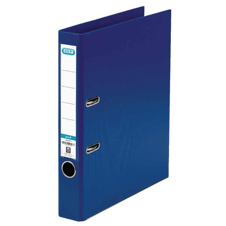 BX145101 Elba 50mm Lever Arch File Plastic A4 Blue Front cover locks keep file closed 1451-01