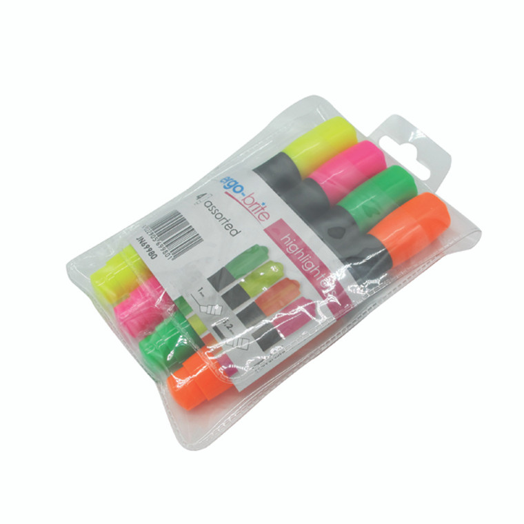 JN69980 Ergo-Brite Assorted Erognomic Highlighter Pens Pack 4 JN69980