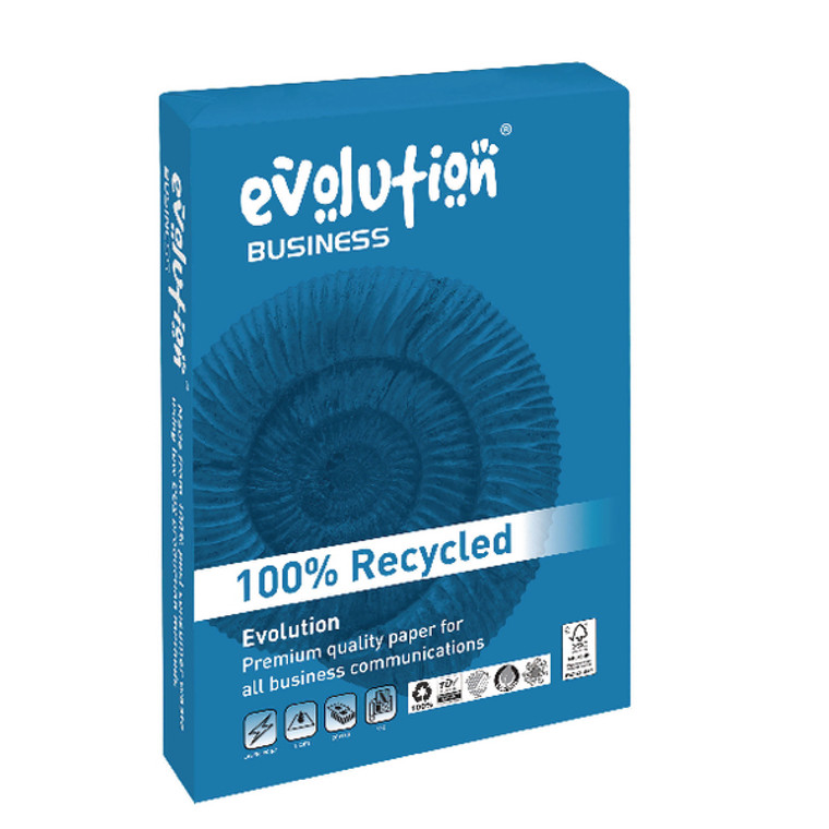 EVO00083 Evolution Business Recycled A4 Paper 100gsm White Ream Pack 500 EVBU21100