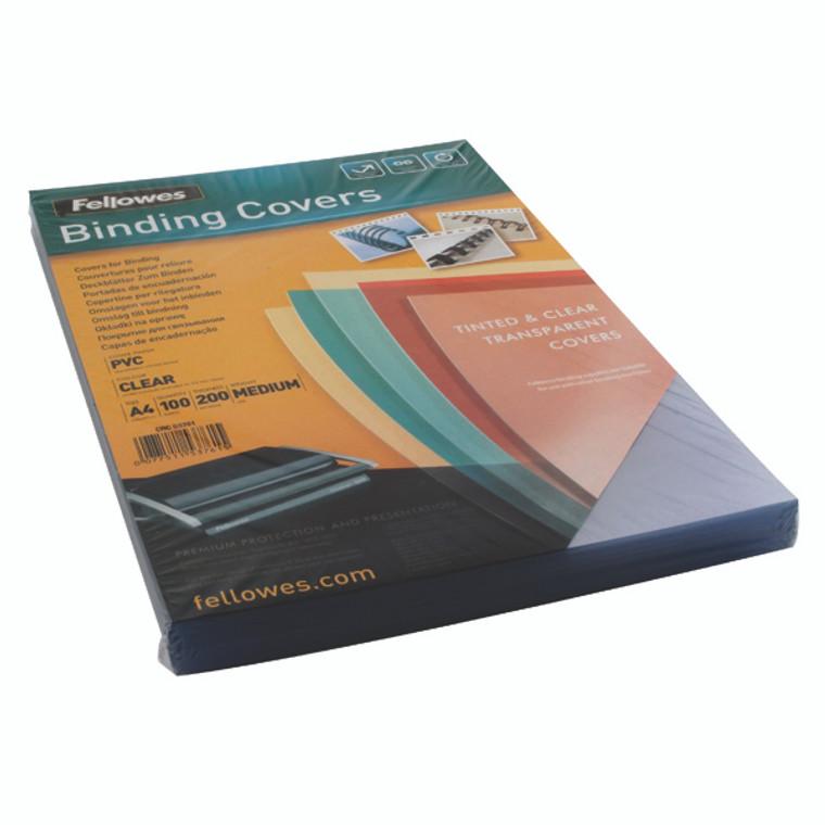 BB53761 Fellowes Transpsarent Plastic Covers 200 Micron Pack 100 5376101