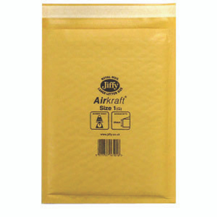 JF79532 Jiffy AirKraft Bag Size 1 170x245mm Gold GO-1 Pack 10 MMUL04603