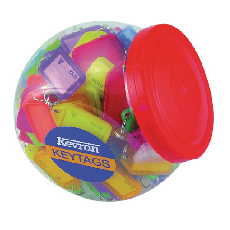 SP00499 Kevron Plastic Clicktag Key Tag Large Assorted Tub Pack 150 ID5AC150