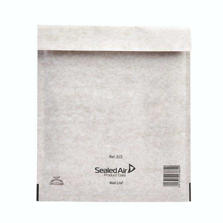 MQ02005 Mail Lite Bubble Lined Postal Bag Size E 2 220x260mm White Pack 100 MLW E 2