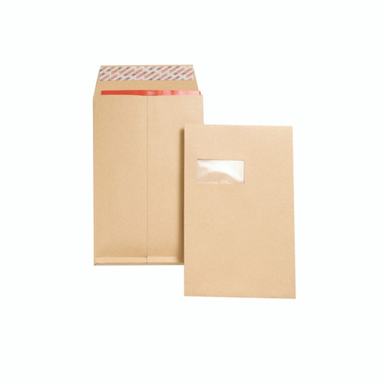 JDJ27366 New Guardian C4 Envelope Window Peel Seal Manilla Pack 100 J27366