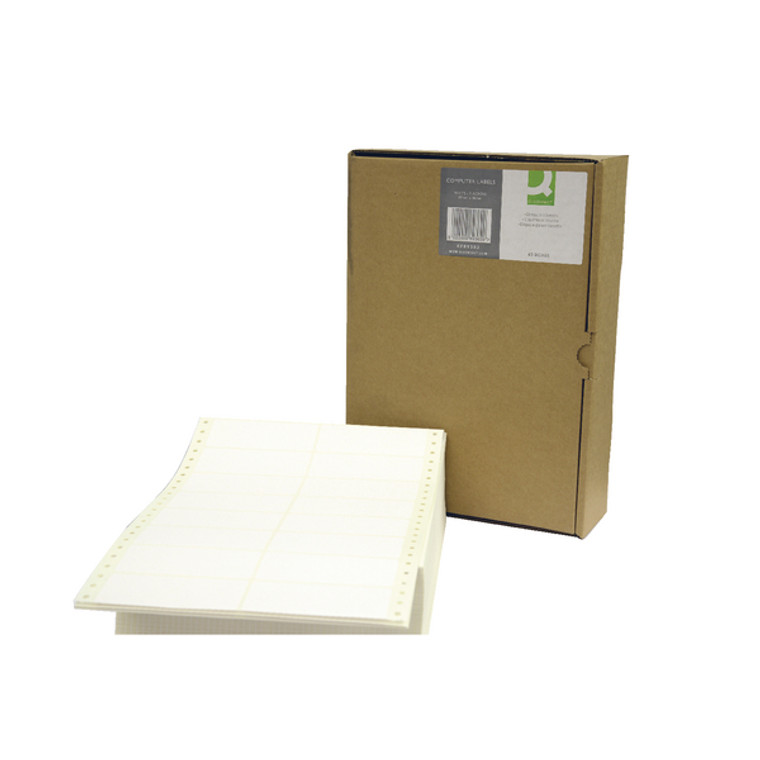 KF89362 Q-Connect Computer Label 89x36mm 2 Across The Web 16 Per Fanfold White Pack 8000 KF89362