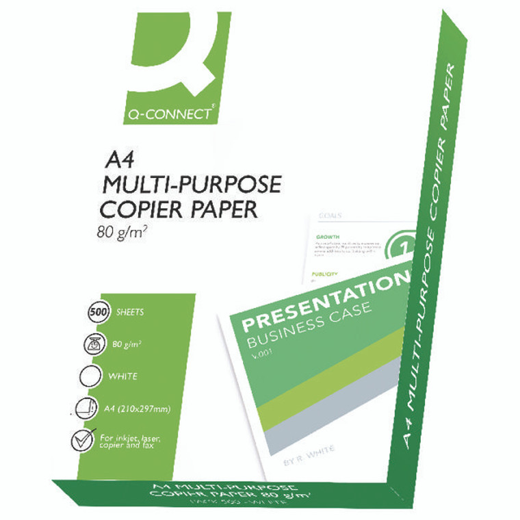 KF01087 Q-Connect Copier A4 Paper 80gsm White 500 Sheets KF01087