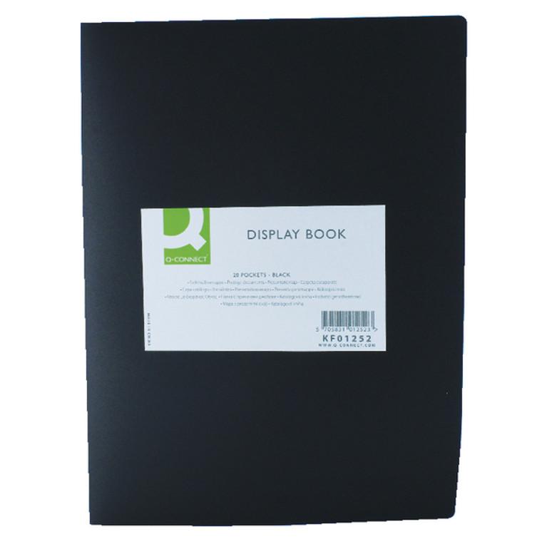 KF01252 Q-Connect Polypropylene Display Book 20 Pocket Black KF01252