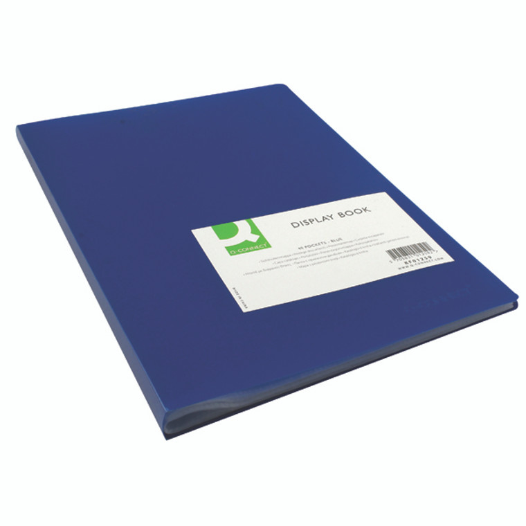 KF01259 Q-Connect Polypropylene Display Book 40 Pocket Blue KF01259