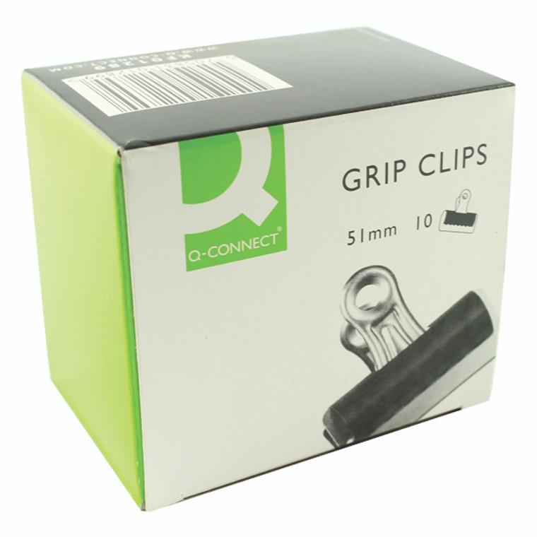 KF01289 Q-Connect Grip Clip 51mm Black Pack 10 KF01289