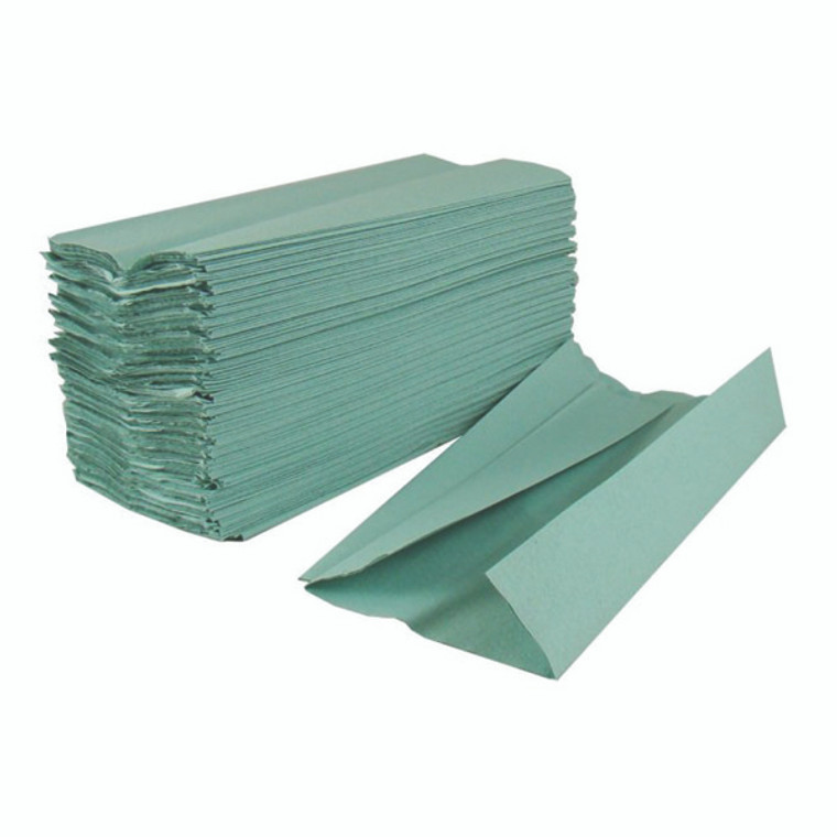 KF03801 2Work 1-Ply C-Fold Hand Towels Green Pack 2880 HC128GRVW