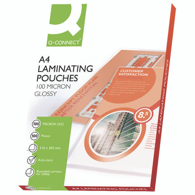 KF04115 Q-Connect A4 Laminating Pouch 200 Micron Pack 100 KF04115