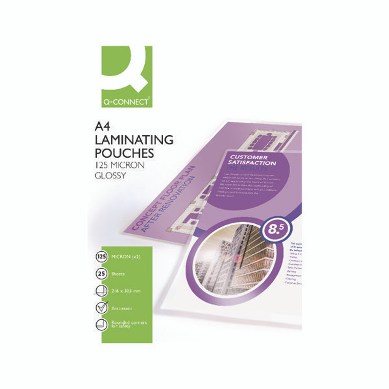 KF04120 Q-Connect A4 Laminating Pouch 250 Micron Pack 25 KF04120